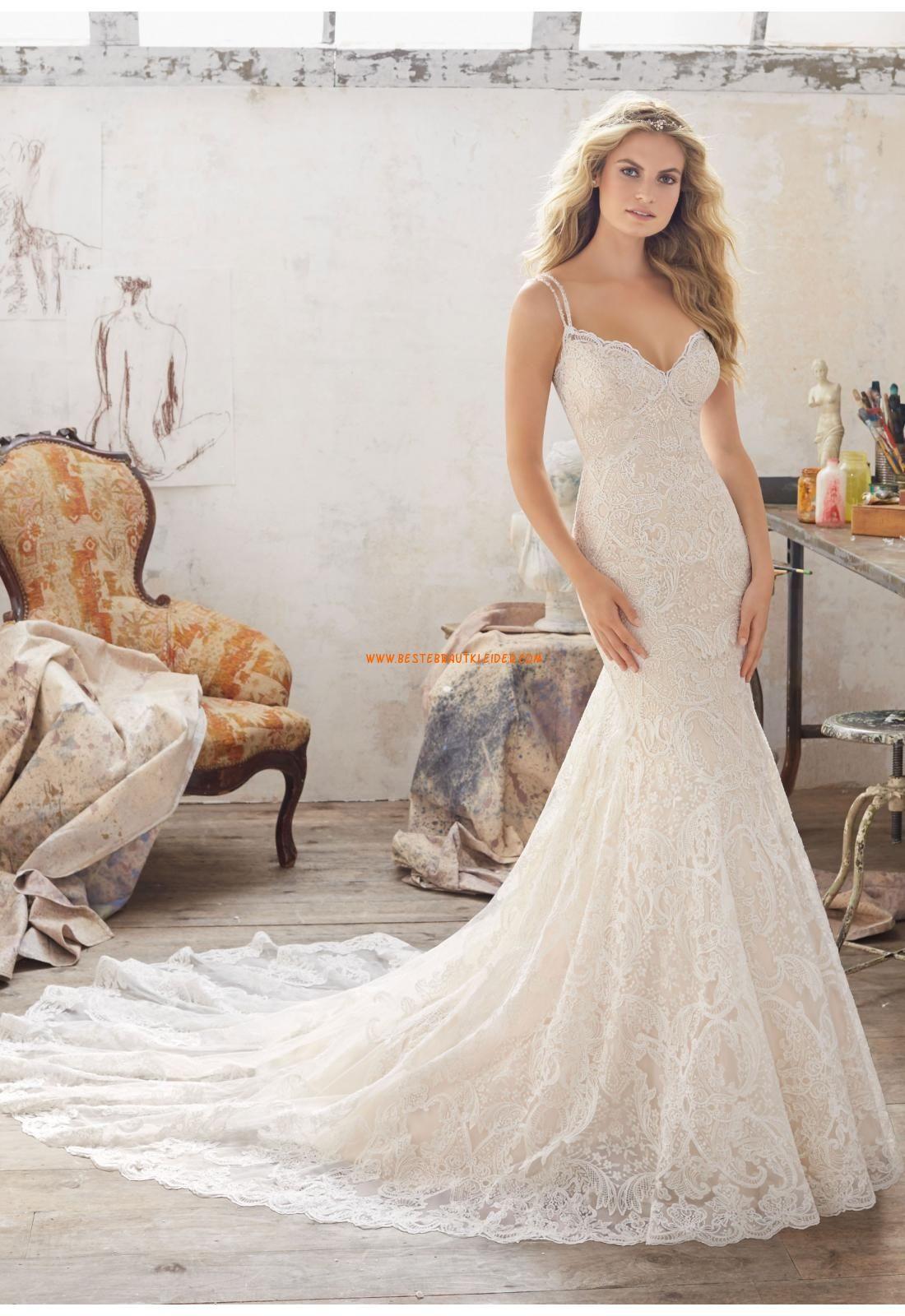 Meerjungfrau Herz-ausschnitt Rückenfreie Brautkleider aus Spitze mit ...