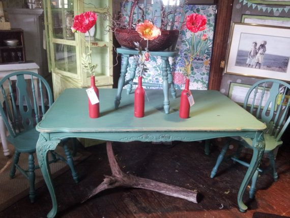 Antique Forest Green Shabby Chic Dining Table and 3 Chairs ...