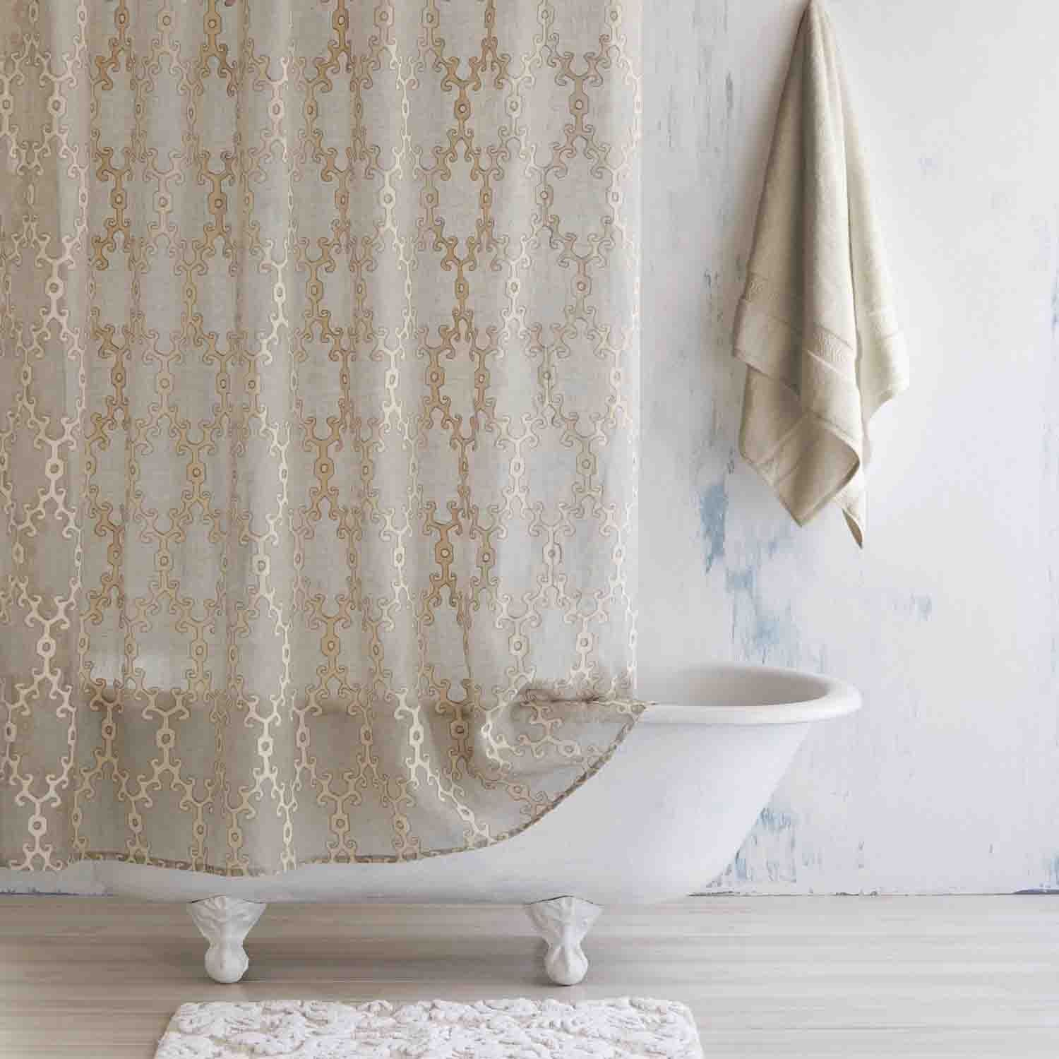Ivory/Linen Totem Shower Curtain