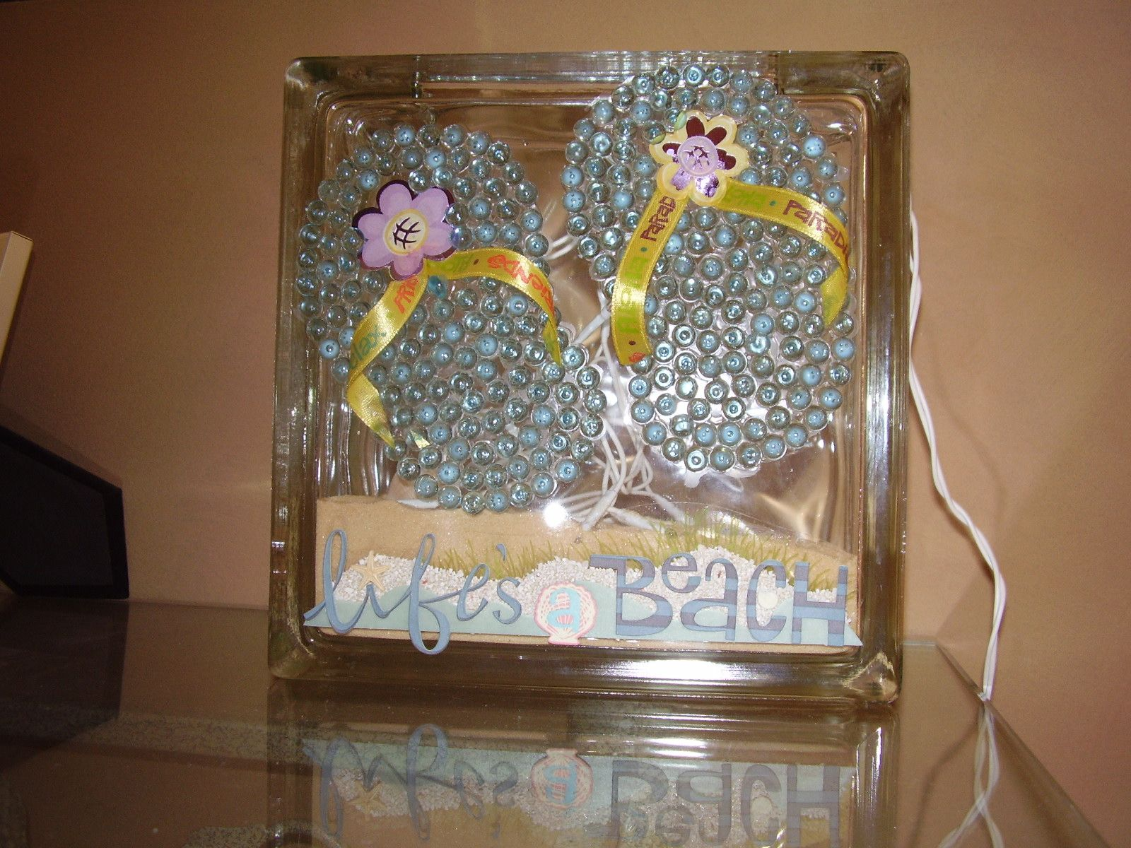 Glass block summer craft my craft projects pinterest glass blocks summer crafts and glass - Glass block decoration ideas ...