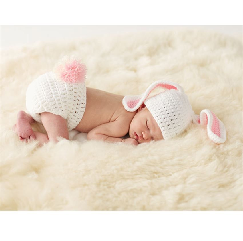 Hat with floppy ears and bloomer with pom pom tail perfect for take the most precious springtime newborn photos of your baby wearing this adorable bunny set this knit set by mud pie includes a hat with floppy bunny negle Image collections