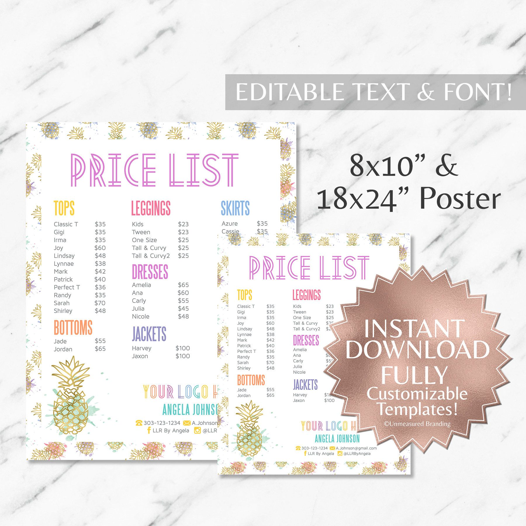 instant customizable gold pineapple watercolor fashion consultant