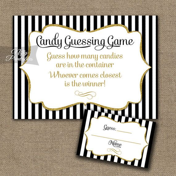 candy guessing game black gold how many candies game printable baby shower bridal shower candy jar game instant download bgl - Christmas Candy Games