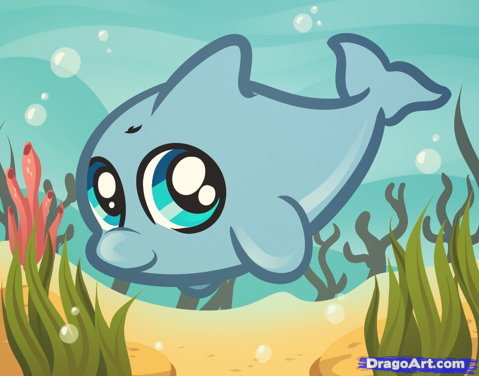 How to Draw a Baby Dolphin by Dawn Darko / DragoArt