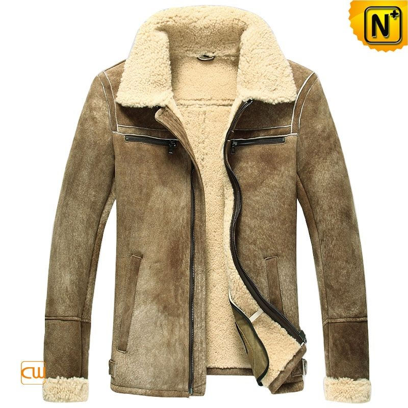 Men's Shearling Lined Leather Bomber Jacket CW860205 1585