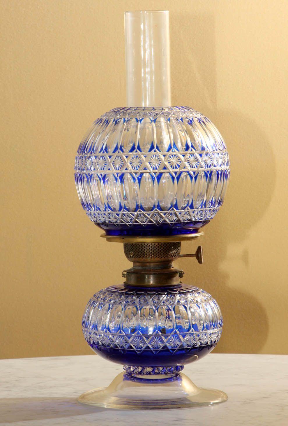 Lamp Cut Glass Blue Cobalt Cut To Clear Iol Lamp Glass