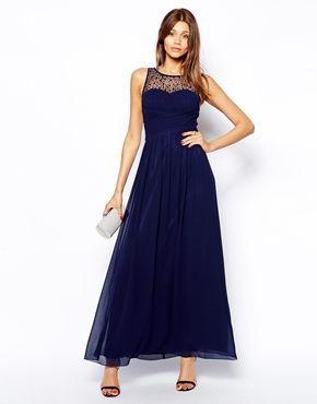 459a42a24 Aumentar Vestido largo con canesú fruncido y adornado de Little Mistress 99€