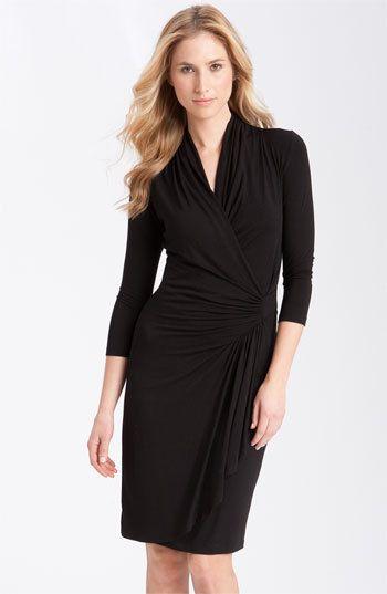 0a27c850c6c WOMEN S KAREN KANE THREE-QUARTER SLEEVE CASCADE FAUX WRAP DRESS Ruching at  the back neckline