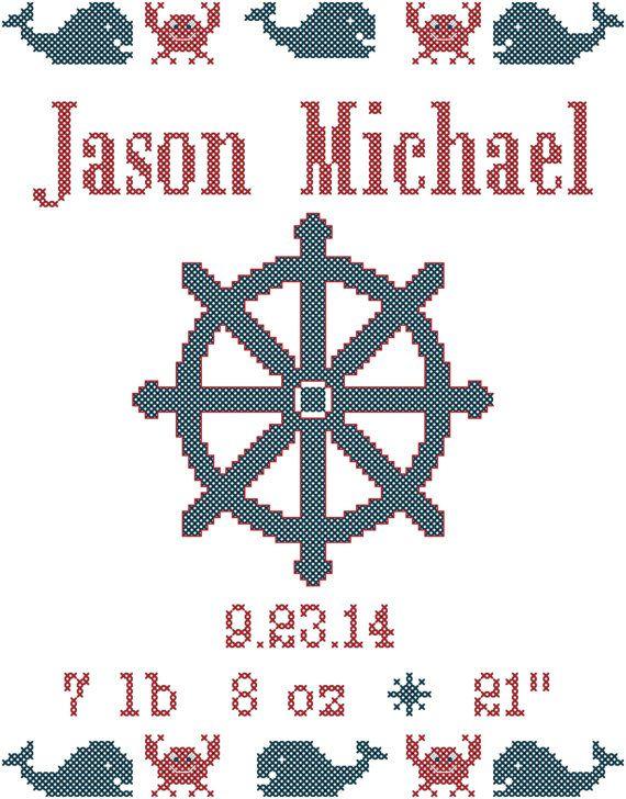 Nautical Cross Stitch Pattern Baby Boy Birth Sampler | Punto de cruz ...