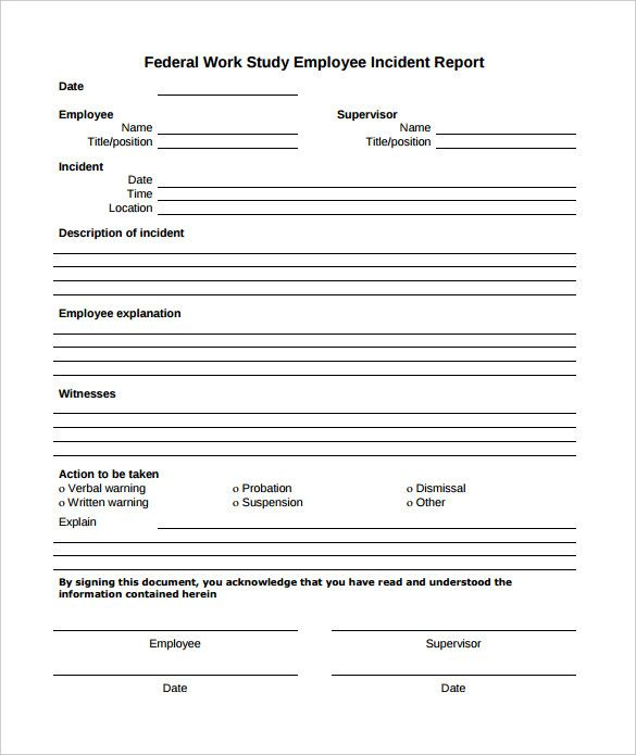 Employee Incident Report template Pinterest Template and