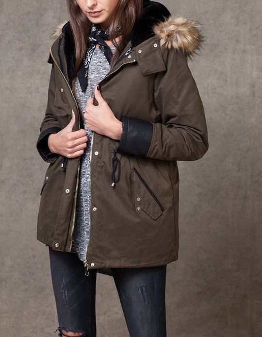 At Stradivarius you'll find 1 Parka with leather look trim for ...
