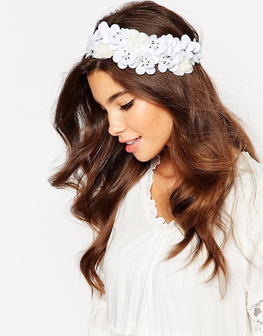 Asos 3d Sequin Flower Headband With Beaded Embellishment Asos
