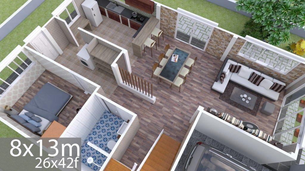 Plan 3d Interior Design Home Plan 8x13m Full Plan 3beds Samphoas Plan Small House Design Small House Design Plans Home Design Plan
