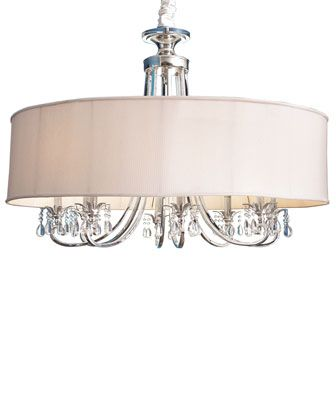 John-Richard Collection Silver-Plated Chandelier Handcrafted silver-plated chandelier has an oyster-white hardback shade of polyester and l...