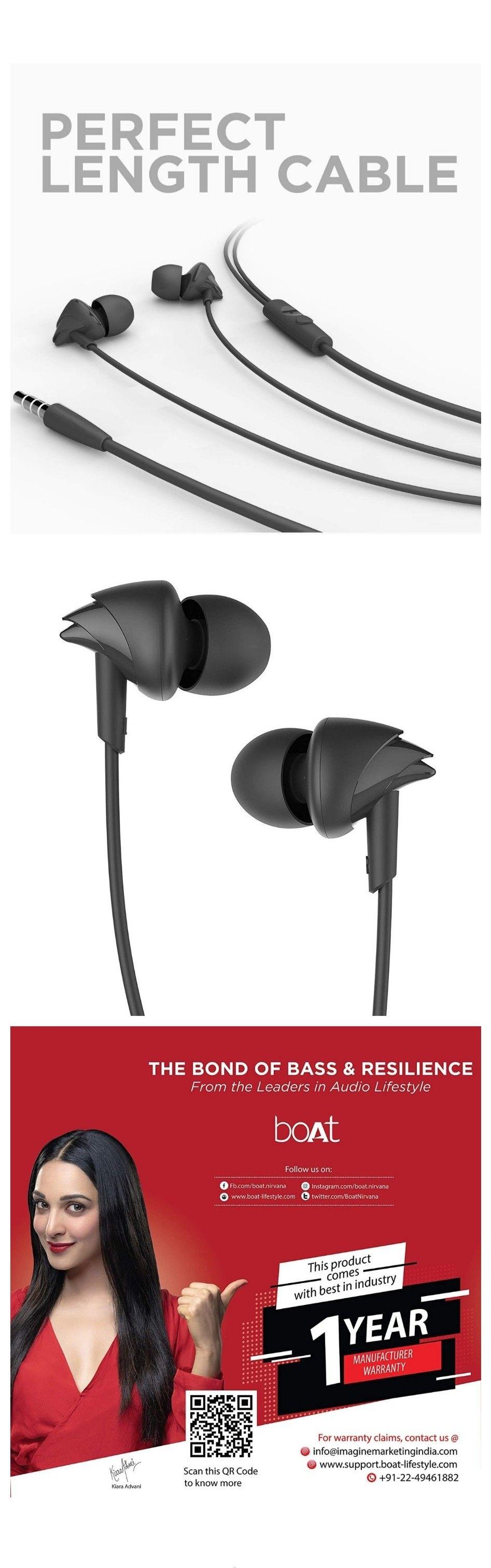 65 Off On Boat Wired Earphones In 2020 Boat Wiring Black Headphones Bass Head