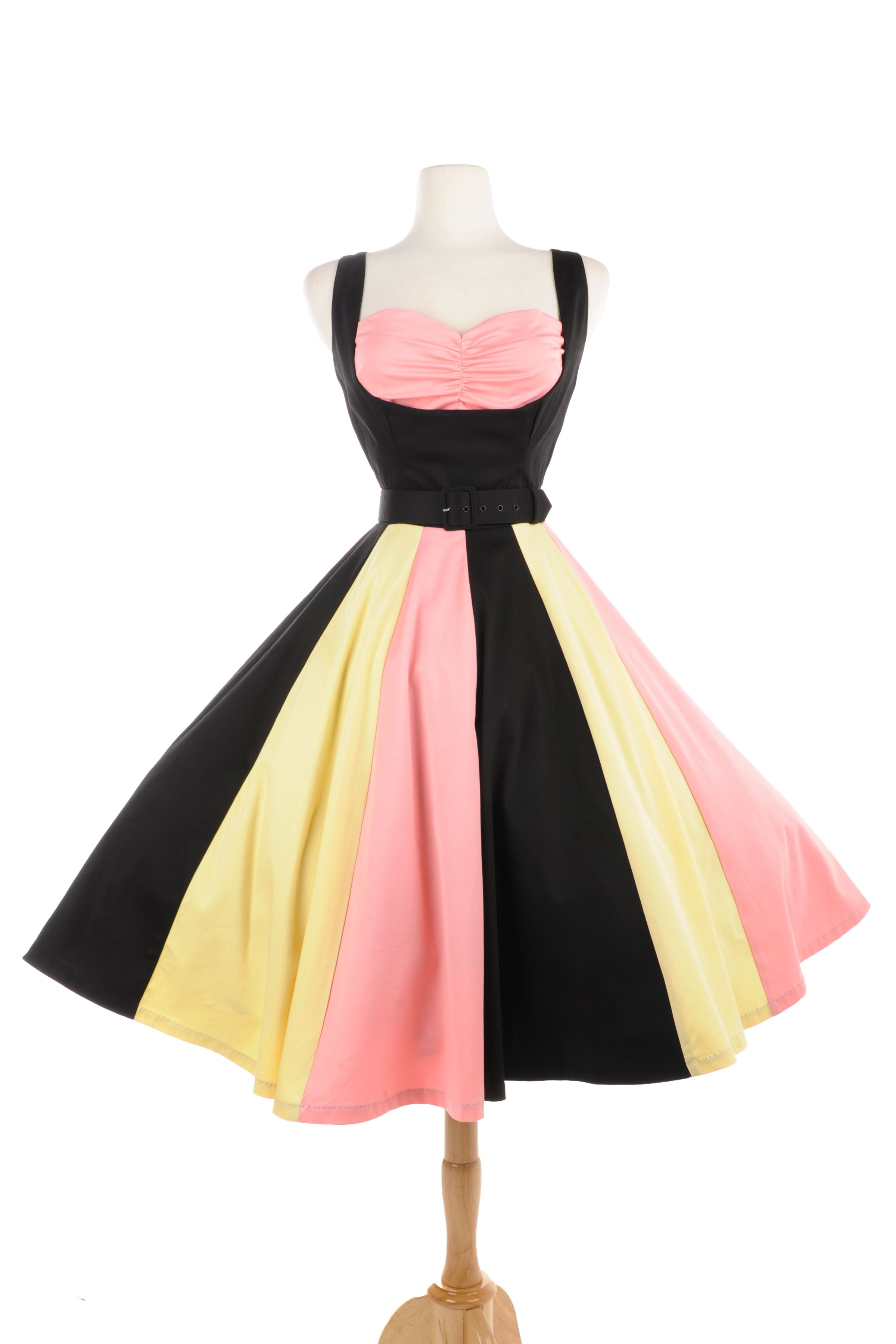 Just desserts dress in black sateen with pink and yellow pinup girls