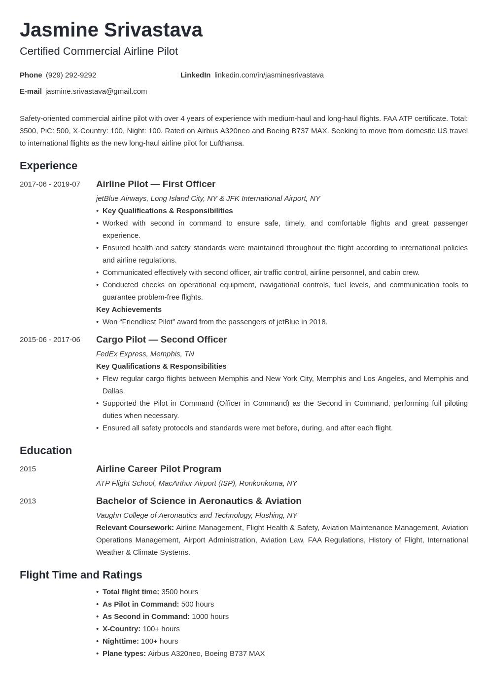 Pilot Resume Example Template Minimo Resume Template Examples Resume Examples Job Resume Examples