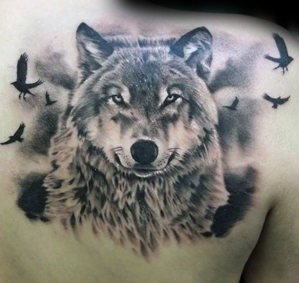 Masculine Mens Wolf With Flying Birds Upper Back Tattoo Wolf Tattoos Men Tattoos For Guys Wolf Tattoo Design
