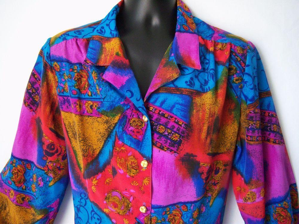 $10.49 FREE SHIP? Women's sz 16 Blouse Cobalt Magenta Purple Long Sl Button-front by GW Polyester #GW #Buttonfront #Allocassion