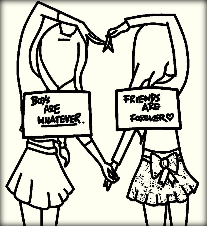 bff coloring pages Best Friend Quotes Coloring Pages | Boy are Whatever Vs Best  bff coloring pages