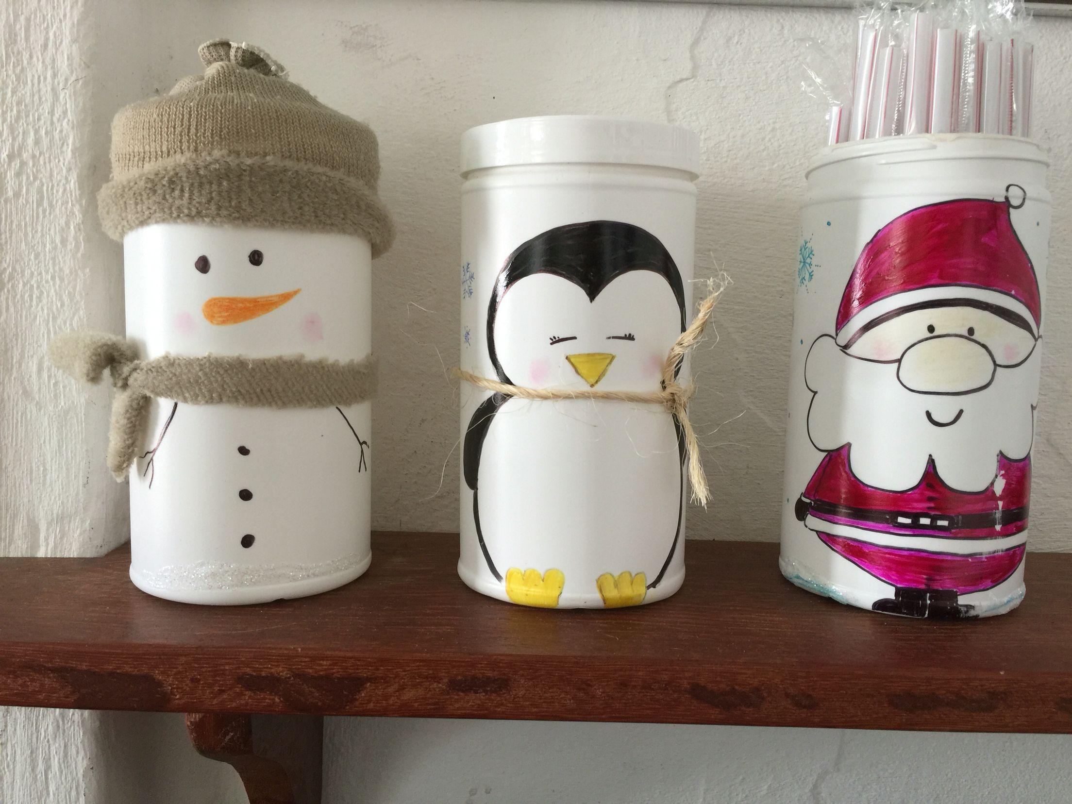 Botes de malteada navidad navidad pinterest navidad for Decoraciones de botes de plastico