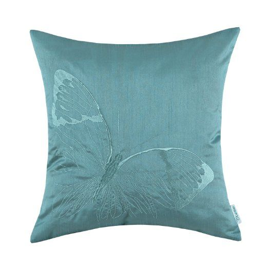 Amazon.com   Euphoria CaliTime Cushion Covers Pillows Shell Teal Ground  Lifelike Butterfly Embroidery 18