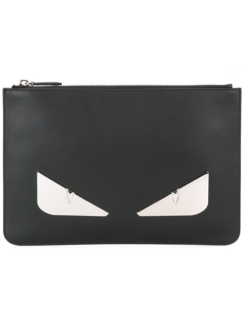 Fendi - Bag Bugs clutch - men - Leather Metal (Other) - One Size, Black,  Leather Metal (Other) 825d43b46b0e