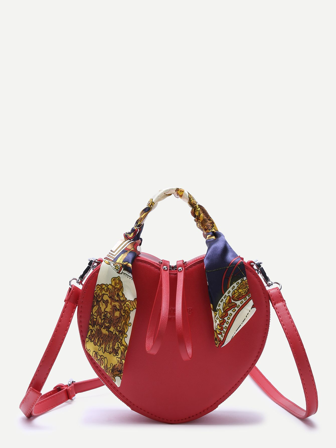 f3dba9f0c2 Red, Heart-Shaped, Zip Closure, PU Shoulder Bag - SheIn | Bags ...