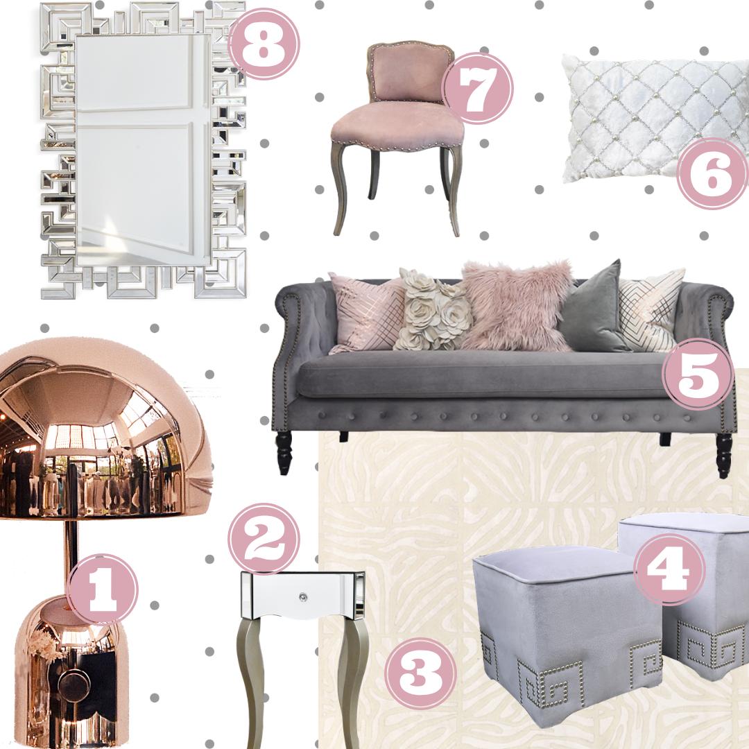 Finn Avenue Luxury Collection Gold Sofa Rose Gold Bedroom Livibg Room