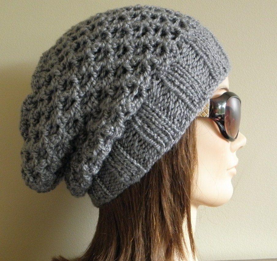 Knit Slouchy Hat Pattern Bulky Yarn : PDF Knitting Pattern - Knit Slouchy Hat / Latissa, via ...
