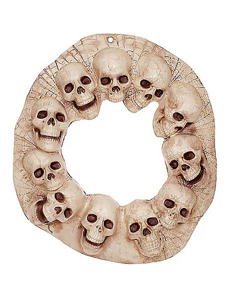 19 Inch Skull Wreath - Decorations - Spirithalloween Halloween - skull halloween decorations