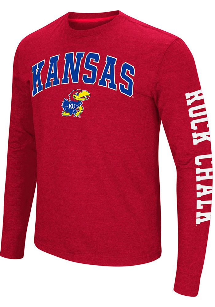 2d6d1cc7f077 Colosseum Kansas Jayhawks Red Jackson Long Sleeve T Shirt, Red, 48% COTTON  / 52% POLYESTER, Size S