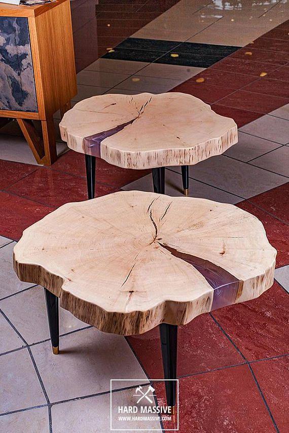table basse rondin souche de table
