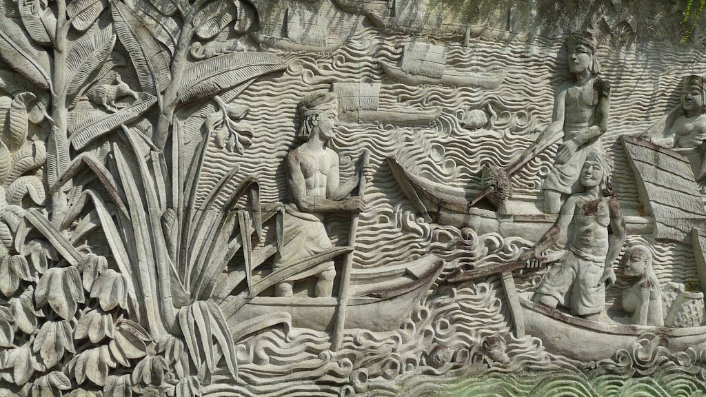 Balinese stone wall carvings fort canning singapore cave