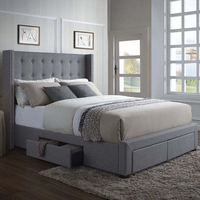 -4 Storage drawers included. -Linen fabric. -Color Grey. -Low profile box spring and mattress are recommended. -Includes 3 slats and has a & Features: -Box spring and mattress are both required. -4 Storage ...