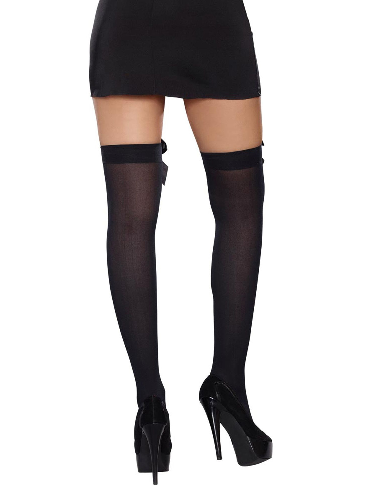 d1b4caa8593 Womens Plus Size Satin Bow Opaque Thigh High Stockings With Bow Hosiery  Satin Bow Womens