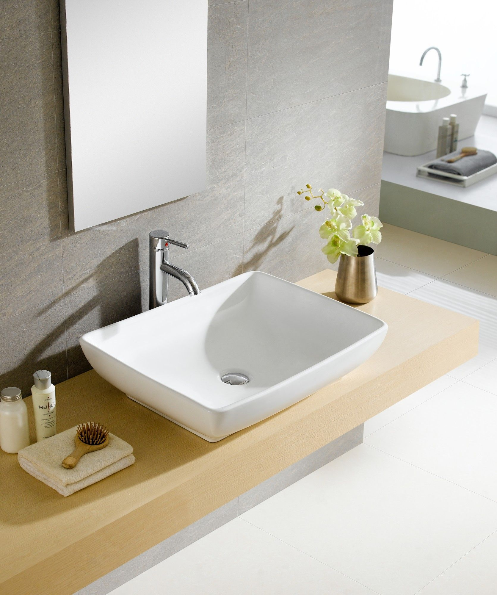 Sink finish white shape rectangular color white above counter sink sleek finish great feel and easy clean installation type vessel sink