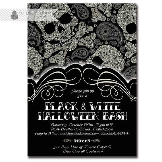 Halloween Party Invitation Gothic Skulls By