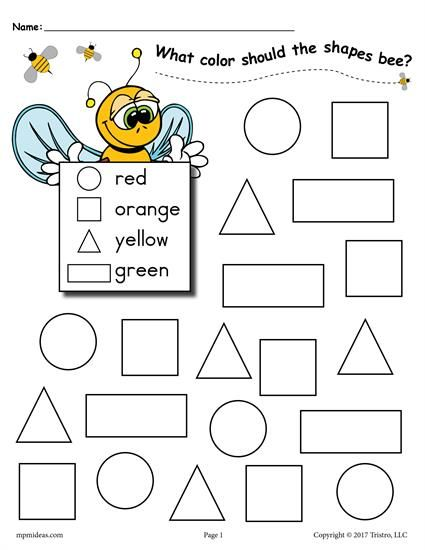 Practice Color And Shape Recognition With Your Toddlers Preschoolers Kindergartners Using These Fun Bee Themed Shapes Coloring Pages