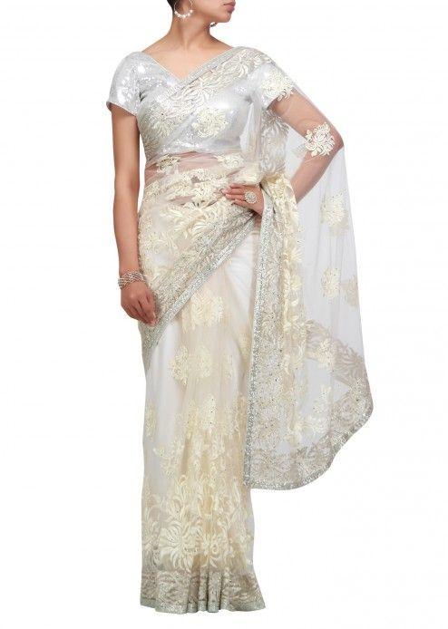 Off white saree with resham and zari work
