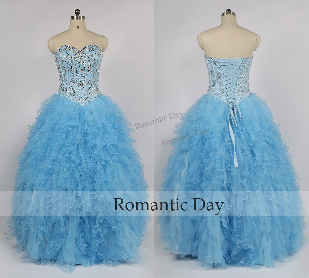 Sweetheart beads bodice ruffles blue long quinceanera dresslong