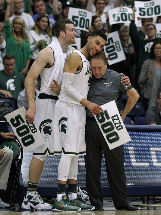 Tom Izzo Photo With Valentine On 500th Win Michigan State Spartans Basketball Michigan State Basketball Denzel Valentine
