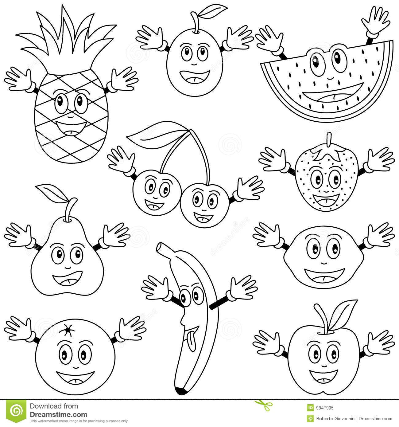 Free coloring pages vegetables and fruit - W For Watermelon Fruit Coloring Pages Cute Drawing Kids