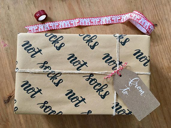 Christmas wrapping paper hand stamped paper funny gift wrapping christmas wrapping paper hand stamped paper funny gift wrapping kraft paper holiday negle Images