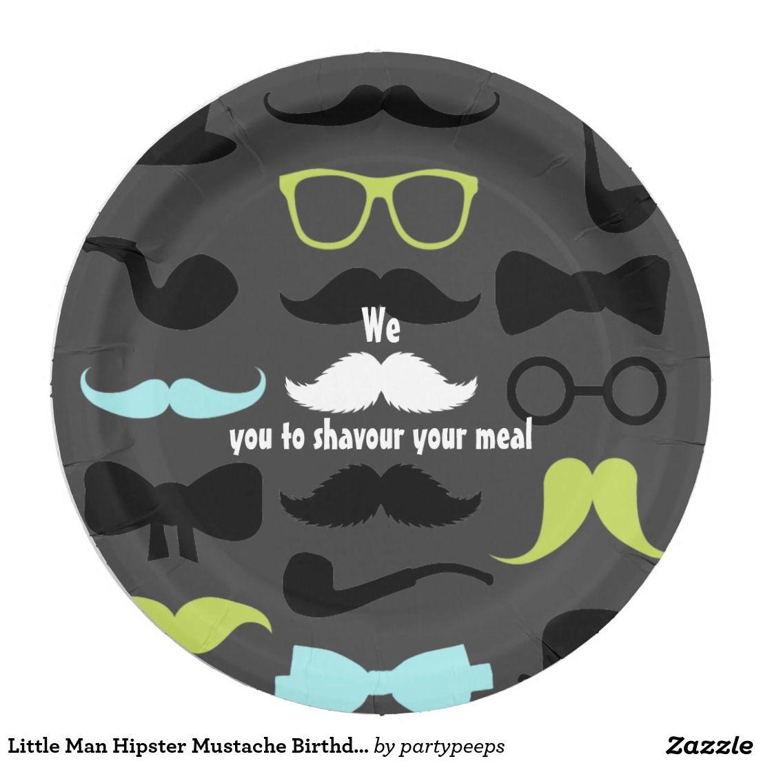 Little Man Hipster Mustache Birthday Party Paper Plate  sc 1 st  Pinterest & Little Man Hipster Mustache Birthday Party | Custom Party PAPER ...