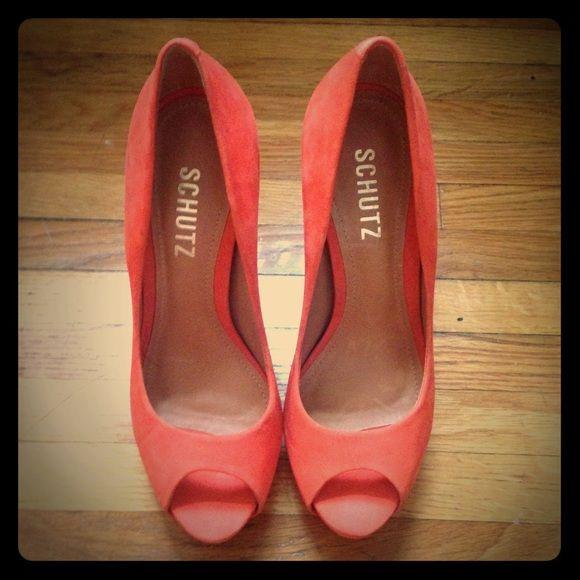 Orange Loafer mit Peeptoe qBd8KRL3o