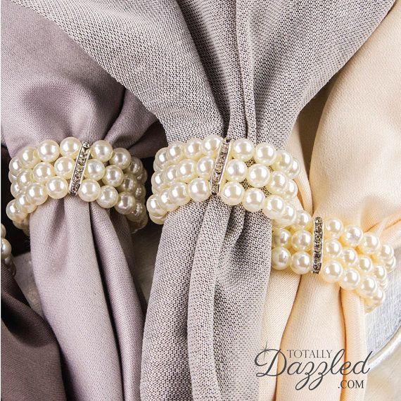 40pcs Pearl Napkin Ring Rhinestone and Pearl Stretch Loop Wedding