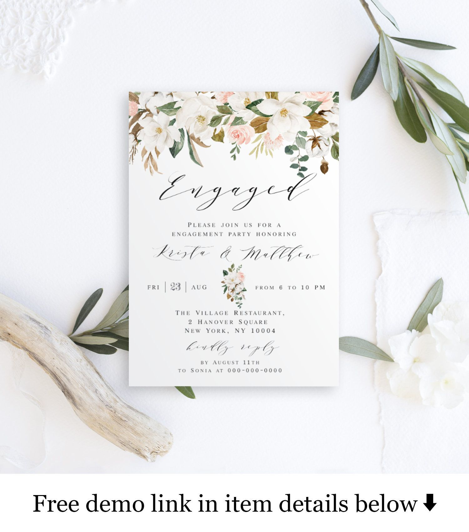 Engagement Announcement Ideas Were Engaged Invitation Template Etsy Engagement Announcement Invitation Template Bridal Shower Invitations Printable