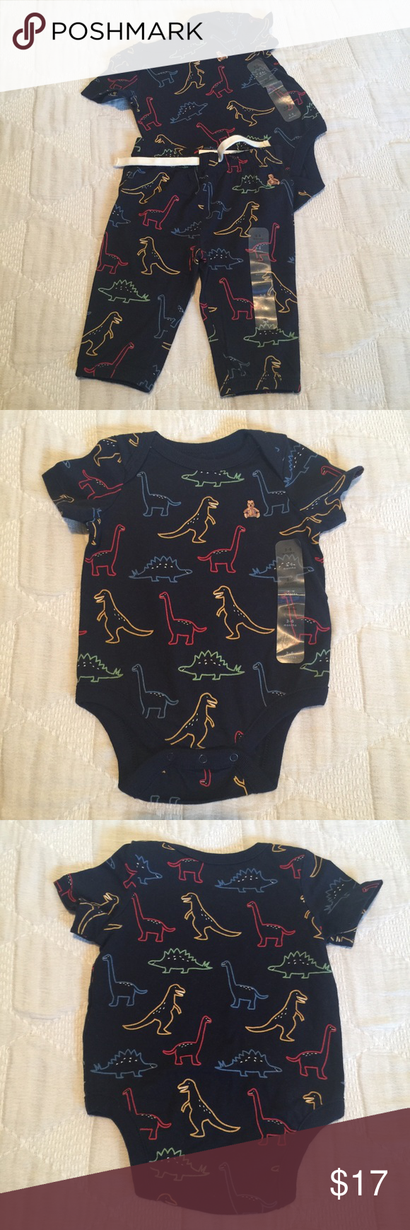 189a9d20f Baby Gap Dinosaur Onesie & Pant Set Cute Matching set, short sleeved onesie  and pants. Navy blue background with multi color dinosaurs. GAP Matching  Sets