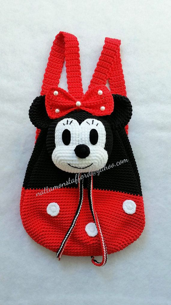 MADE TO ORDER, Nylon Minnie Mouse backpack, Handmade crochet ...